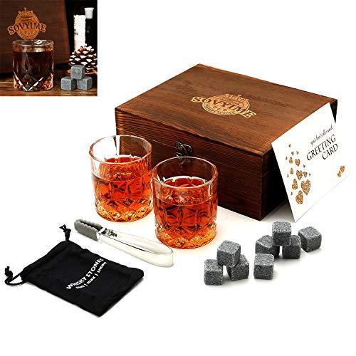 Whisky Stones Gläser Geschenk Set 2 Kristall Scotch Gläser 8 Granit Chilling Rocks, Holz Geschenk Box Burbon Geschenk Für Whisky Liebhaber/Männer/Weihnachten/Geburtstag/Vatertag Crystal Glasses Set