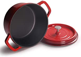 Enamel Pot, Cooking Pots Saucepan Cast Iron Saucepan Hotel Skillet Kitchen Accessories 100% Lead Free Safe,Red Detazhi (Co...