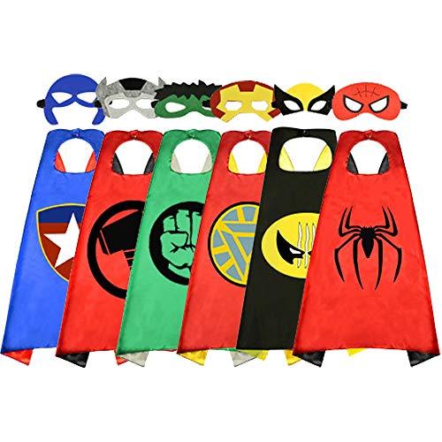 BELVITA Superhelden-Umhang für Kinder, doppelseitiger Satin-Umhang und Maske für Kostüme Gr. Medium, blau