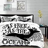 Yaoni Bettwäsche-Set, Mikrofaser,Zitat, Wild Big Whale schwimmt so frei wie die Ozeane Maritime Nautical Art Inspiration, schwarz und weiß, 1 Bettbezug 220 x 240cm + 2 Kopfkissenbezug 80x80cm