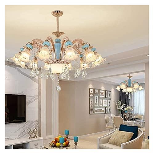 LATOO Lámparas de araña Candelabro Araa de Cristal de Lujo Europeo Flores de Moda Creativas Casa Villa Lámpara LED de cerámica E14 * 12 Luz cálida 105 * 105 * 65cm