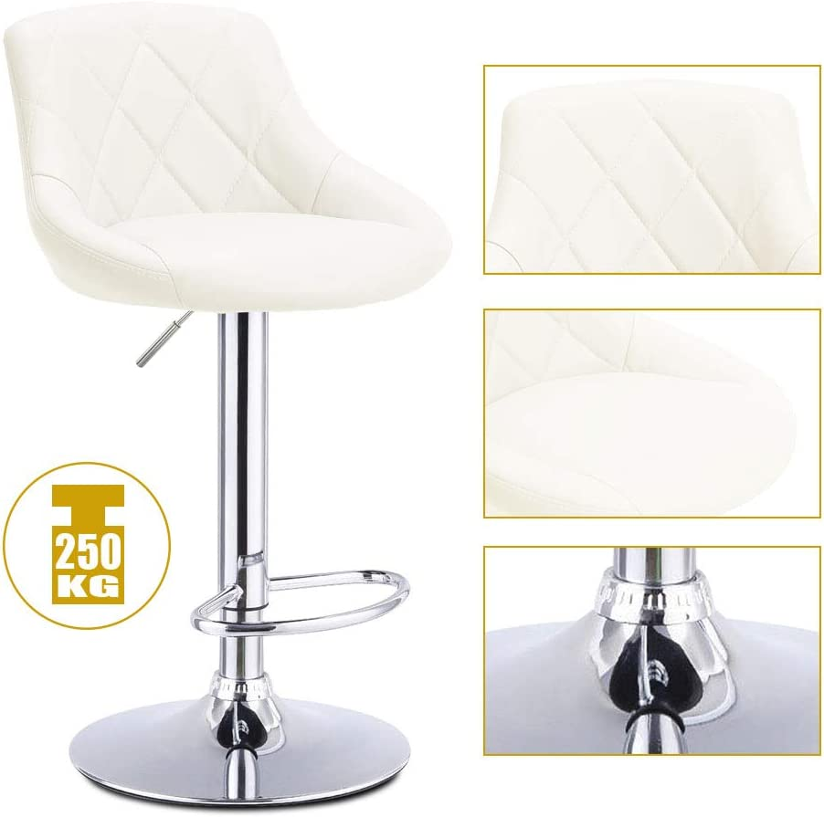 Kitchen Counter Wonderlife Bar Stools Breakfast Kitchen Pub Chair with Adjustable Swivel Gas Lift Chrome Footrest and Base for Breakfast Bar Cream white