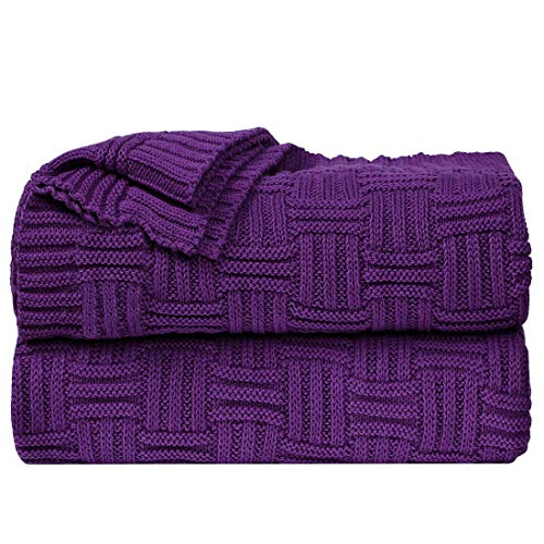 sourcing map 100% Cotton Cable Knit Throw Blanket Soft Lightweight Lap Blanket Textured Solid Sofa Throw Couch Cover Decorative Knitted Blankets, Purple 47'x 70'