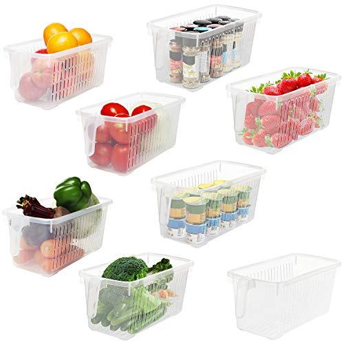 Kurtzy Kühlschrank Organizer & Küchenschrank Aufbewahrungsbox mit Handgriff (8 STK) - 32cm Länge - Durchsichtige Kunststoff Containers für Kühlschrank, Bad, Speisekammer, Küche, Gefrierschrank