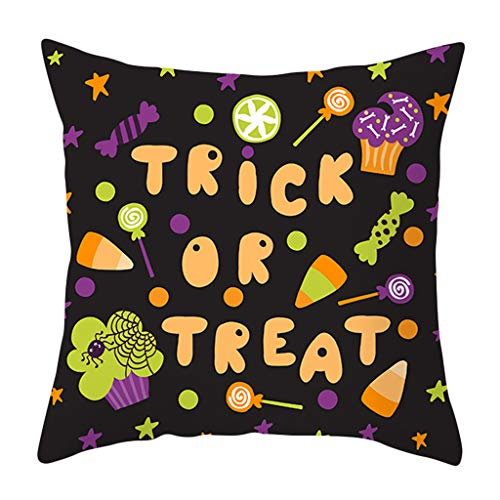 GDBEST Watercolor Halloween Cushion Cover Colorful Decoration Pillow Cover Waist Throw Pillow Cover Creative Funny Pillowcase for Sofa Cafe Couch Home Decor Gifts Pillow Case(18' x 18')