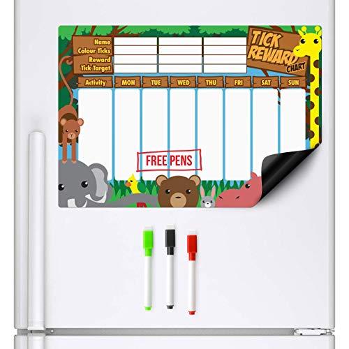 CKB Ltd tabla de recompensas magnética, animales de la selva, para nevera. Gráfico de recompensas para niños, lista de comprobación. incluye 3 rotuladores de colores con marcador borrable en seco