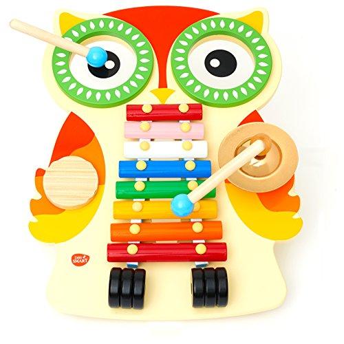 Instrument de Musique - Table Musicale en bois - un xylophone, deux tambours, une cymbale et un guiro