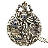 LiQinKeJi8 Reloj de Bolsillo Old Flying Eagle Cover Necklace Reloj de Bolsillo Bronce Hawk Wing Colgante Fob Cadena Cuarzo Reloj de Cuarzo Regalos para Hombres Mujeres para Hombres Mujeres