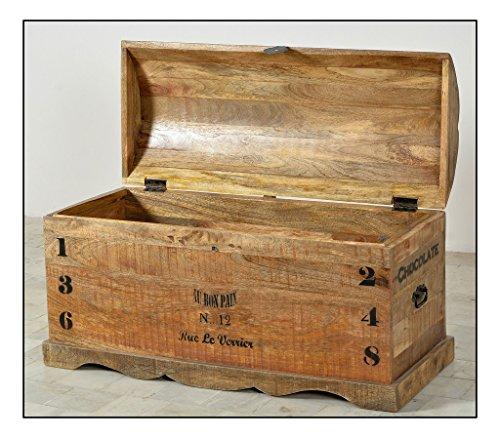 SIT-Möbel Rustic 1991-04 Truhe mit 1 Klappe, aus Mangoholz, Antik, braun, Wortprints, 100 x 43 x 50 cm - 4