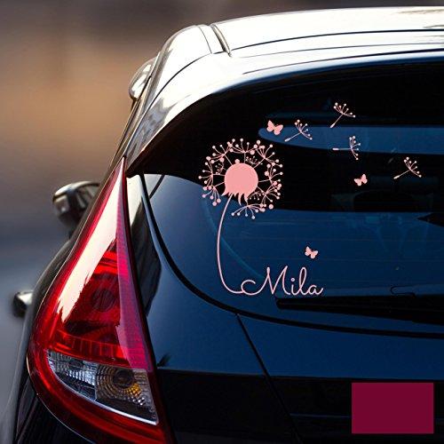 ilka parey wandtattoo-welt® Autotattoo Heckscheibenaufkleber Fahrzeug Aufkleber Sticker Baby Name Pusteblume M1864 - ausgewählte Farbe: *Beere* ausgewählte Größe: *M - 28cm breit x 25cm hoch*