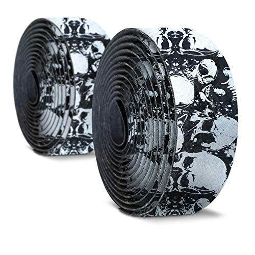 Alien Pros Bike Handlebar Tape Carbon Fiber (Set of 2) Black Silver - Enhance Your Bike Grip with These Bicycle Handle bar Tape - Wrap Your Bike for an Awesome Comfortable Ride