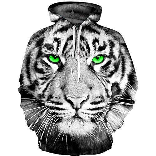 XINGMU 3D Digitale Gedrukte Casual Trui Cyaan Ogen Wit Tijger Hooded Sweater met capuchon Lange Mouw Paar Jas