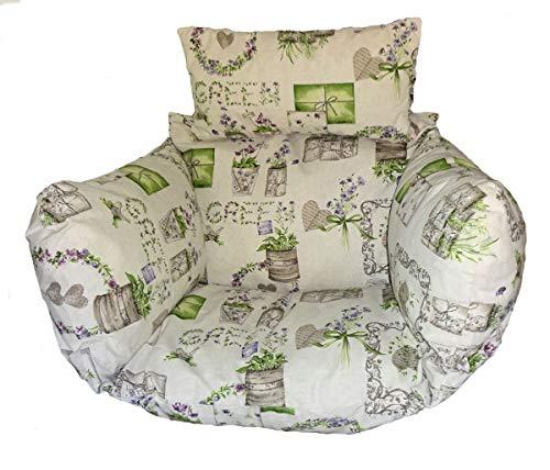 Rattani - Polster, Kissen, Auflage für Rattan Hängeschaukel Schaukelstuhl Rattanschaukel Gr. Sitzfläche 60 x 50 cm Mirha Leinen Green - Made in EU