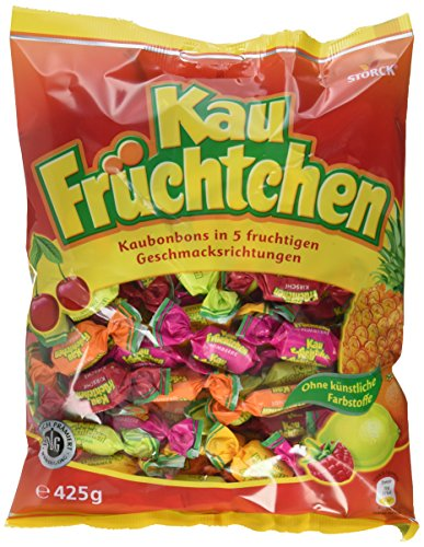 Kau Früchtchen – Leckere Kau Bonbons mit fruchtigengeschmacksrichtungen für Klein undgroß – (15 x 425g Beutel)