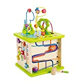 Country Critters Wooden Activity Play Cube by Hape   Wooden Learning Puzzle Toy for Toddlers, 5-Sided Activity Center with Animal Friends, Shapes, Mazes, Wooden Balls, Shape Sorter Blocks and More, 13.78 x 13.78 x 19.69 inches