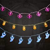 Huahua - Guirnalda de luces de Halloween, 30 luces LED de calabazas de murciélagos de araña, impermeable IP42, funciona con pilas, para decoraciones de fiesta de Halloween al aire libre en interiores