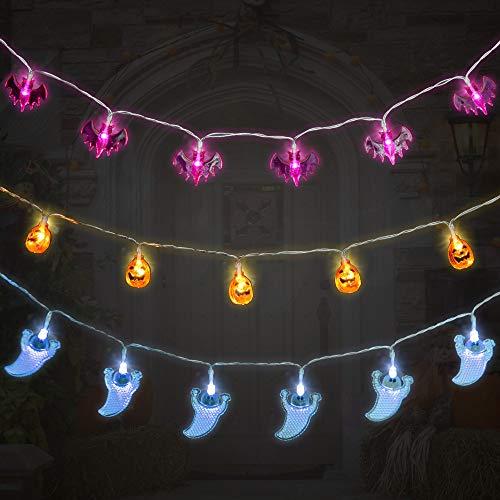 Huahua - Guirnalda de luces de Halloween, 30 luces LED de calabazas de murciélagos de araña,...