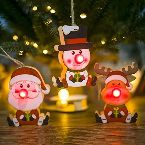 Feliz Navidad 3 Piezas Adornos para árboles de Navidad Luz de Nariz roja de Navidad y Colgante con muñeco de Nieve de Papá Noel y Decoraciones para árboles de Elfos