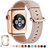 WFEAGL Compatible with iWatch Band 38mm 40mm, Top Grain Leather Band Replacement Strap