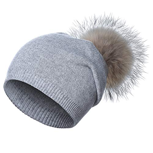 WELROG Berretto da Donna in Maglia di Lana - Cappelli da Sci in Cashmere Massiccio Invernale Real Raccoon Pom Pom (Grigio Chiaro)