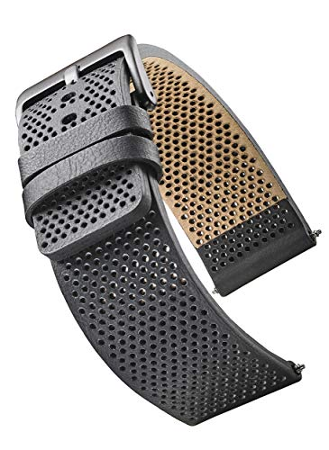 Genuine Leather Watch Band - Soft and Smooth Perforated Leather Watch Strap - Black - 22 mm