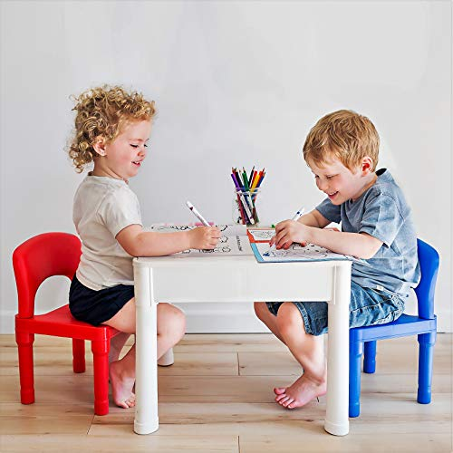 Table Best Item 4 in 1 Play & Build Table Set for Indoor Activity, Outdoor Water Play, Toy Storage & Building Block Fun Includes 2 Toddler Chairs by Playbuild POPVSTR