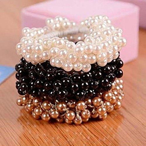 3-teiliges Zopfgummi-Set, Haargummis fürDamen, Mädchen, mit unechten Perlen, für Pferdeschwanz