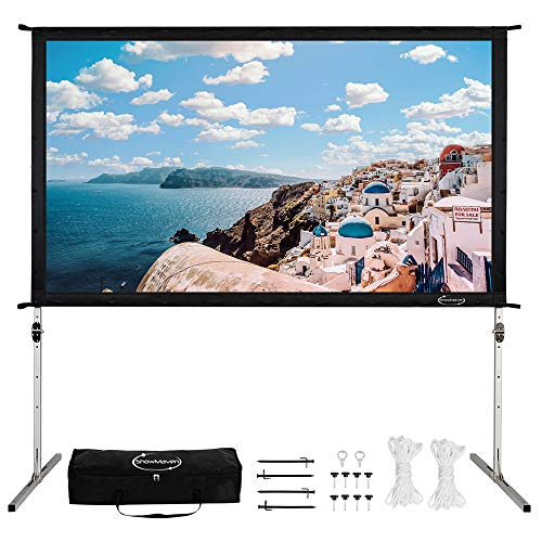 ShowMaven Projector Screen with Stand Outdoor 16:9, Projection Screen Portable with Carry Bag, Foldable Movie Screen for Indoor Backyard Camping (120 inch)