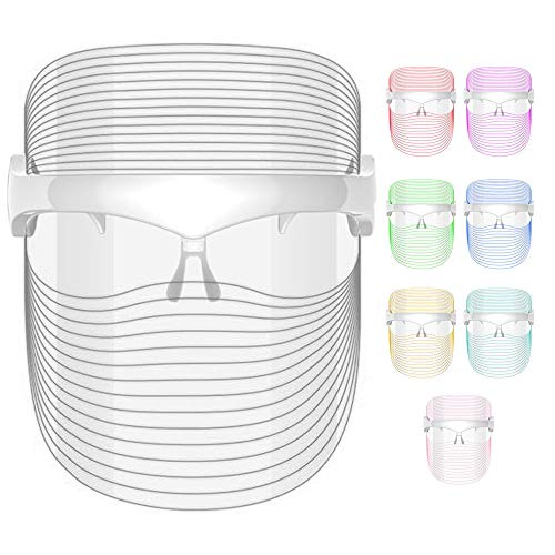 SANITIZELY LED Face Therapy Light Mask - 7 Colors LED Facial   Facial Rejuvenation, Wrinkles Reduction, Anti-Aging   Wireless Micro-USB Rechargeable Portable and Light Face-Mask