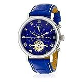 Montre Louis Cottier Homme - Automatique - Tradition - 42 mm - Cadran Bleu - Bracelet Cuir Bleu -...