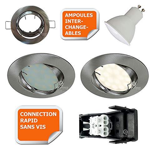 SPOT LED ENCASTRABLE COMPLETE ORIENTABLE ALU BROSSE AVEC AMPOULE GU10 230V 5W, BLANC NEUTRE