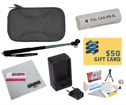 47th Street Photo Best Value Point & Shoot Accessory Starter Kit for Canon PowerShot Elph 510 SD450 Digital Camera Includes Extended Replacement NB-9L Battery + AC/DC Travel Charger + Self Portrait Monopod + Mini tripod + Slim Hard Case + Screen Protectors Photo Print ! Deluxe Cleaning Kit + More