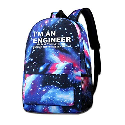 Mochila escolar Im an Engineer Never Wrong School Mochila Galaxy Starry Sky Book Bag Kids Girls Daypack
