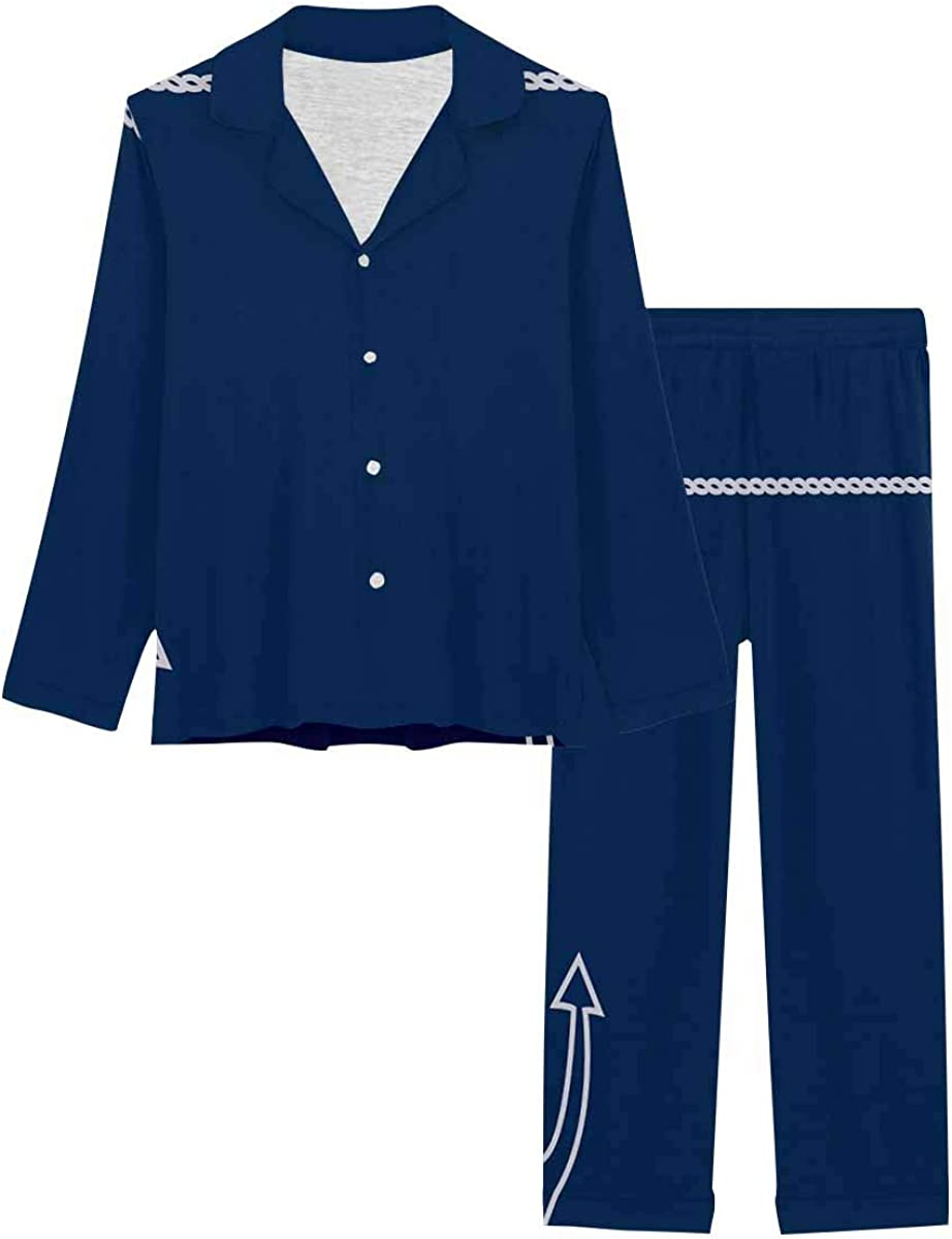 InterestPrint Long Sleeve Button Down Nightwear with Long Pants Anchor Line