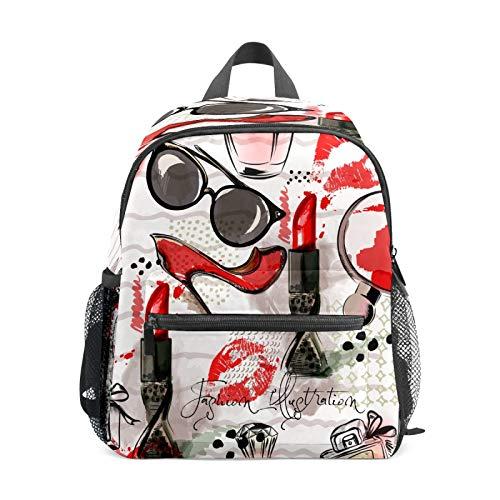 Mochila infantil para niños de 1 a 6 años de edad, mochila perfecta para niños y niñas, gafas de sol, boca, labios, tacones altos, perfume para mujer, maquillaje rojo