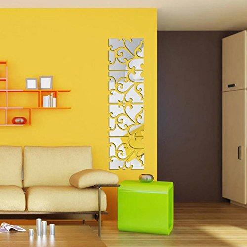 Gaoqi 32pcs DIY 3D Acrílico Espejo Calcomanía Mural Etiqueta de la Pared Decoración para el hogar Extraíble