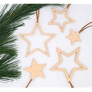 Weihnachtsdekoration Set 5-teilig aus Holz, handmade, nachhaltig, Adventsstern, Weihnachtsbaumschmuck, Christbaumschmuck…