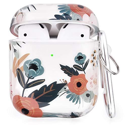 V-MORO Klare Airpods Hülle Kompatibel mit Apple AirPods 1&2 Hülle Case Tragbare Blume TPU Stoßfeste Schutzhülle[Unterstützt kabelloses Laden](Colourful Flowers)