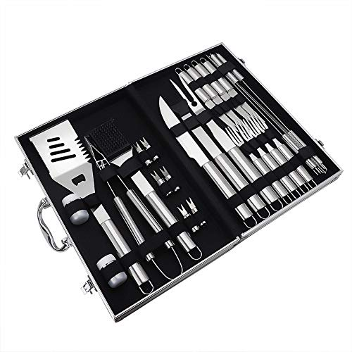 51k9IvSJqoL - BBQ Tools Set BBQ Grill Tools Kit 20 stücke Edelstahl BBQ Werkzeuge Set mit Aufbewahrungskoffer Grillzubehör im Freien (Farbe : 27pcs, Size : 43 * 27 * 8cm)