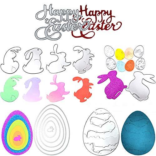 Easter Cutting Dies Set with 17 Pcs Bunny Easter Egg Die Happy Easter Set Metal Die Cuts Scrapbooking DIY Scrapbook Supplies Metal Die Cuts for Card Making DIY Scrapbooking and Embossing Paper Craft