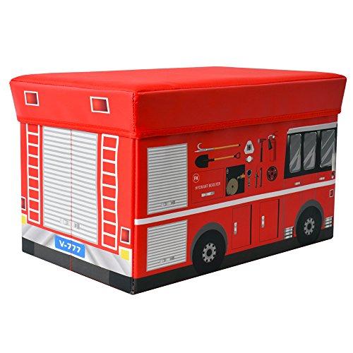 Textil Aufbewahrungsbox Hocker Spieltruhe Spielbox faltbar Feuerwehrauto mit Deckel Sitzfläche gepolstert