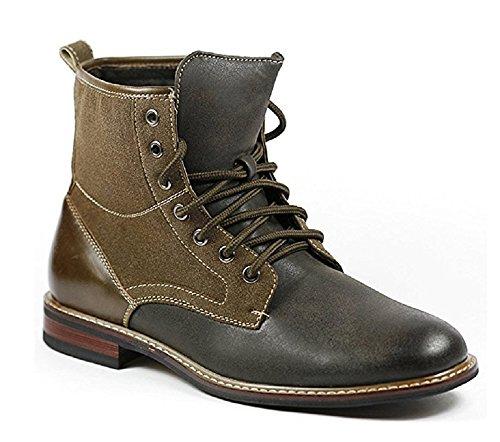 Ferro Aldo Men's 808562 Dark Gray & Brown Military Combat Work Ankle Boots, Gray, 9.5
