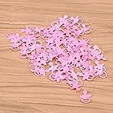 YeahiBaby Konfetti Stoff Baby Schnuller Füße Lätzchen Form Tisch Streu Konfetti Baby Dusch Geburtstag Party Deko 400 Stück (Rosa) - 7
