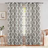 Gray on Beige Curtains 84 Inch Linen Drapes Living Room Bedroom Drapery Dining Room Window Treatment Light Filtering Ogee Pattern Lattice Printed Curtain Panels Grommet Top Window Curtains 2 Panels