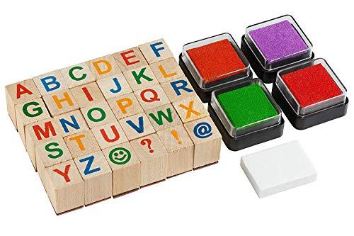 Moore: Premium Holz Alphabet Stempel Set - 34 Stück Set Großbuchstaben Briefmarken mit 4 Farbe Stempelkissen