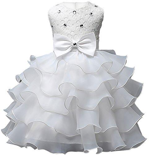 EUDOLAH Robe Bebe Fille a Volants en Organza avec Ornement de Perles Bapteme Soiree Ceremonie 90 Blanc