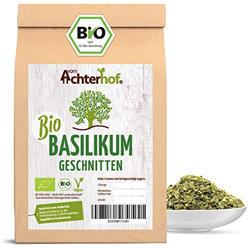 Basilikum getrocknet BIO | 100g | Basilikumblätter gerebelt | Als Gewürz oder Tee | vom Achterhof