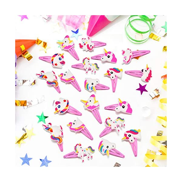 BBTO 22 Pieces Unicorn Pattern Hair Clips 1.57 inch Anti-slip Snap Hair Clips Barrettes Hairpins for Baby Girls Unicorn… 8