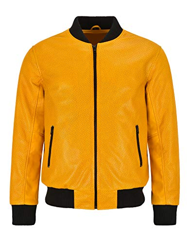 Smart Range Leather Chaqueta de Bombardero de Cuero para Hombres, Color Amarillo Mostaza Perforada, Cuero napa, Serie clásica de Aviador 4987