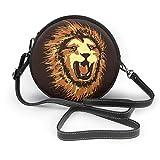 Head Of Angry Lion Vector - Bolso de hombro redondo con cremallera de piel suave para mujer
